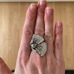 Silver cocktail flower ring